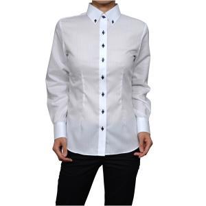 レディースシャツ ワイシャツ 白 オフィス ブラウス ビジネス 長袖 白シャツ ボタンダウンシャツ 形態安定 日本製 ナチュラルフィット トップス 大きい|ozie