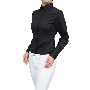 レディースシャツ ワイシャツ ブラック 黒 オフィス ブラウス ビジネス 長袖 ボタンダウン 日本製 イージーケア ストレッチ 大きいサイズ おしゃれ|ozie
