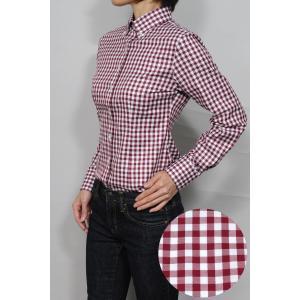 レディースシャツ ワイシャツ ワインレッド 赤 オフィス ブラウス ビジネス 長袖 ボタンダウンシャツ 日本製 綿100% ナチュラルフィット トップス 大きい|ozie