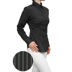 レディースシャツ ワイシャツ ブラック 黒 オフィス ブラウス ビジネス 長袖 ボタンダウン 日本製 プレミアムコットン 大きいサイズ おしゃれ|ozie