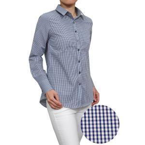 レディースシャツ ワイシャツ ブラウス 長袖 ネイビー 紺 ブルー 青 ワイドカラー 形態安定 日本製 リラックスフィット トップス 大きいサイズ おしゃれ|ozie