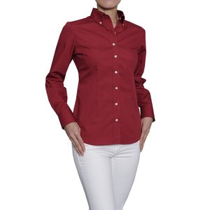レディースシャツスリムフィット 形態安定 長袖 ボタンダウン 日本製|ozie