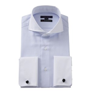 ワイシャツ メンズ 長袖 ドレスシャツ ダブルカフス ホリゾンタルカラー クレリック ブルー 青 スリム 綿100% ビジネスシャツ Yシャツ 大きいサイズ おしゃれ|ozie