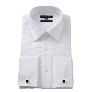 ワイシャツ メンズ 長袖 イージーケア ドレスシャツ ダブルカフス セミワイドカラー ホワイト 白 スリム 綿100% 大きいサイズ ビジネスシャツ Yシャツ おしゃれ|ozie