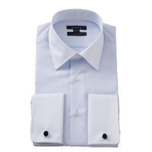 ワイシャツ メンズ 長袖 イージーケア ドレスシャツ ダブルカフス セミワイドカラー ブルー 青 スリム 綿100% 大きいサイズ ビジネスシャツ Yシャツ おしゃれ|ozie