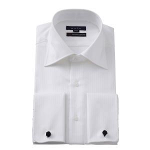 ワイシャツ メンズ 長袖 スリム ホワイト 白 ワイドカラー 綿100% プレミアムコットン 120番手 イージーケア ダブルカフス ドレスシャツ おしゃれ 3L 4L|ozie