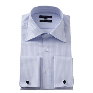 ワイシャツ メンズ 長袖 スリム ブルー 青 ワイドカラー 綿100% プレミアムコットン 120番手 イージーケア ダブルカフス ドレスシャツ おしゃれ 3L 4L|ozie
