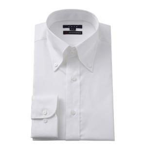 ワイシャツ メンズ 長袖 スリム ホワイト 白 綿100% プレミアムコットン ボタンダウン イージーケア 無地 カッターシャツ 大きいサイズ おしゃれ ポケット無し|ozie