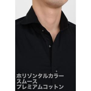ポロシャツ メンズ ビズポロ ニット ニットシャツ スリム ブラック 黒 プレミアムコットン ジャージーコットン イージーケア ノーアイロン ホリゾンタルカラー|ozie