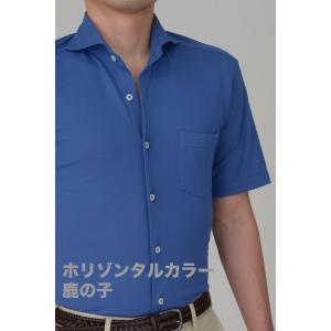 半袖ポロシャツ メンズ ビズポロ スリム ブルー 青 ホリゾンタルカラー クールマックス イージーケア 春夏 カジュアル ドレスシャツ 涼しい 吸湿速乾 おしゃれ|ozie