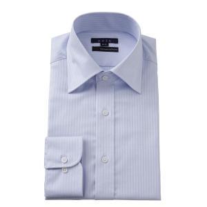 ワイシャツ メンズ 長袖 スリム ブルー 青 ワイドカラー イージーケア プレミアムコットン カッターシャツ 無地 大きいサイズ おしゃれ|ozie