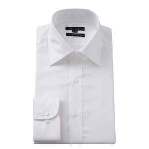 ワイシャツ メンズ 長袖 スリム ホワイト 白 ワイドカラー イージーケア プレミアムコットン カッターシャツ 無地 大きいサイズ おしゃれ|ozie