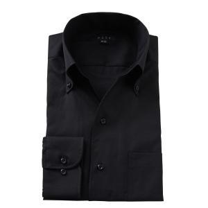 ワイシャツ メンズ 長袖 スリム ビジネスシャツ Yシャツ カッターシャツ ボタンダウン スキッパーシャツ イタリアンカラーシャツ おしゃれ 大きいサイズ 無地 黒|ozie
