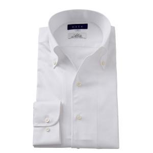 イタリアンカラー ワイシャツ スキッパー ボタンダウン メンズ 長袖 スリム ホワイト 白 イタリア製生地 日本製 ビジネスシャツ ドレスシャツ おしゃれ|ozie