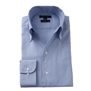 ワイシャツ メンズ 長袖 イタリアンカラー スキッパー ボタンダウン スリム ブルー 青 イタリア製生地 ビジネスシャツ ドレスシャツ 大きいサイズ おしゃれ ozie