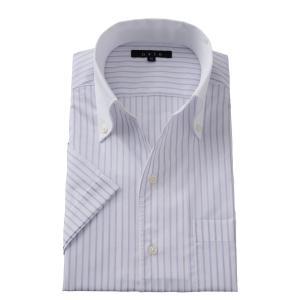 イタリアンカラー ワイシャツ スキッパーシャツ ボタンダウン メンズ 半袖 スリム パープル 紫 クールマックス  ビジネスシャツ 涼しい 吸湿速乾 おしゃれ|ozie