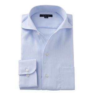 イタリアンカラー ワイドカラー ワイシャツ メンズ 長袖 ブルー 青 スリム 形態安定 ビジネスシャツ おしゃれ 大きいサイズ ozie