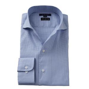 ワイシャツ メンズ 長袖 イタリアンカラー ワイド スリム ブルー 青 イタリア製生地 ビジネスシャツ ドレスシャツ おしゃれ ozie