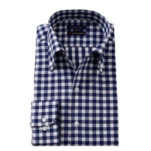 イタリアンカラー ワイシャツ ボタンダウン メンズ 長袖 ネイビー 紺 スリム プレミアムコットン 120番手 イージーケア ビジネスシャツ おしゃれ 大きいサイズ|ozie