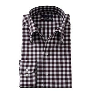 イタリアンカラー ワイシャツ ボタンダウン メンズ 長袖 スリム プレミアムコットン 120番手 イージーケア ビジネスシャツ おしゃれ 大きいサイズ ブラウン|ozie