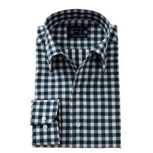 イタリアンカラー ワイシャツ ボタンダウン メンズ 長袖 スリム プレミアムコットン 120番手 イージーケア ビジネスシャツ おしゃれ 大きいサイズ グリーン|ozie