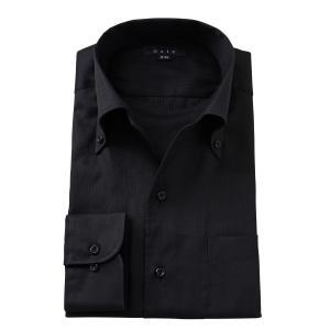 イタリアンカラー ワイシャツ ボタンダウン メンズ 長袖 ブラック 黒 スリム 綿100% Yシャツ ビジネスシャツ 大きいサイズ おしゃれ|ozie