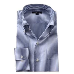 イタリアンカラー シャツ メンズ ワイシャツ ボタンダウン 長袖 ネイビー 紺 スリム クールマックス 形態安定 Yシャツ ビジネスシャツ おしゃれ ozie