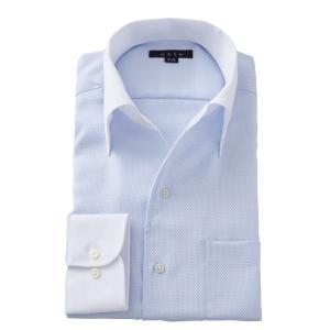 イタリアンカラー ワイシャツ ボタンダウン メンズ 長袖 ブルー 青 スリム 形態安定 ビジネスシャツ 大きいサイズ おしゃれ ozie