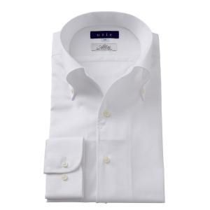 イタリアンカラー ワイシャツ ボタンダウン メンズ 長袖 スリム ホワイト 白 イタリア製生地 日本製 ビジネスシャツ ドレスシャツ おしゃれ|ozie
