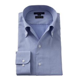 ワイシャツ メンズ 長袖 イタリアンカラー ボタンダウン スリム ブルー 青 イタリア製生地 ビジネスシャツ ドレスシャツ 大きいサイズ おしゃれ ozie