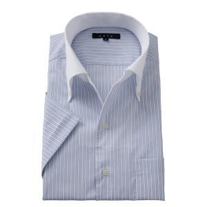 イタリアンカラー ワイシャツ ボタンダウン メンズ 半袖 スリム ブルー 青 クールマックス ビジネスシャツ ドレスシャツ 涼しい 吸湿速乾 おしゃれ|ozie