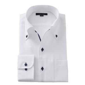 イタリアンカラー ワイシャツ ボタンダウン メンズ 長袖 ホワイト 白 スリム プレミアムコットン からみ織り Yシャツ ビジネスシャツ おしゃれ 大きいサイズ ozie