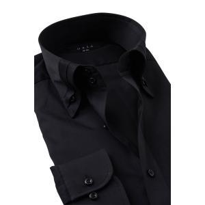 ワイシャツ ボタンダウン 黒シャツ メンズ 長袖 スリム ブラック ドゥエボットーニ マイターカラー Yシャツ ビジネスシャツ おしゃれ 大きいサイズ|ozie