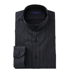ワイシャツ メンズ 長袖 スタンドカラー ブラック 黒 綿100% レギュラーフィット Yシャツ 大きいサイズ おしゃれ 日本製|ozie