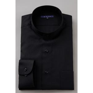 スタンドカラーシャツ メンズ 長袖 ブラック 黒 綿100% ワイシャツ ドレスシャツ レギュラーフィット 日本製 オックスフォード Yシャツ 無地 3L 4L|ozie