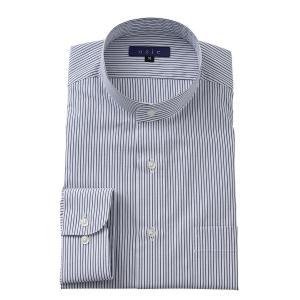スタンドカラーシャツ メンズ 長袖 ブラック 黒 綿100% ワイシャツ ドレスシャツ レギュラーフィット Yシャツ ストライプ 大きいサイズ おしゃれ 日本製|ozie