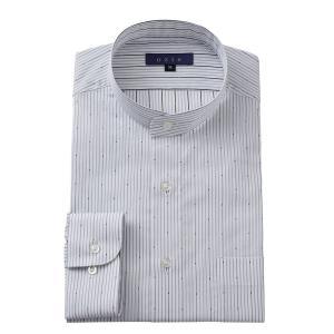 スタンドカラーシャツ メンズ 長袖 綿100% ワイシャツ ドレスシャツ レギュラーフィット Yシャツ ストライプ 大きいサイズ おしゃれ 日本製 グレー|ozie