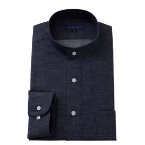 スタンドカラーシャツ メンズ 長袖 綿100% ワイシャツ ドレスシャツ レギュラーフィット Yシャツ 大きいサイズ おしゃれ 日本製 インディゴ ブルー デニム|ozie