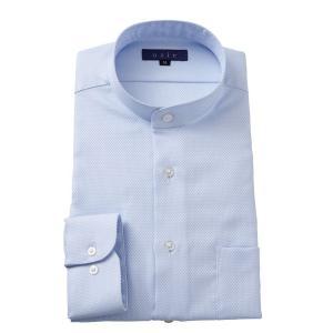 スタンドカラーシャツ メンズ 長袖 ブルー 青 綿100% ワイシャツ ドレスシャツ レギュラーフィット Yシャツ ストライプ 大きいサイズ おしゃれ 日本製|ozie