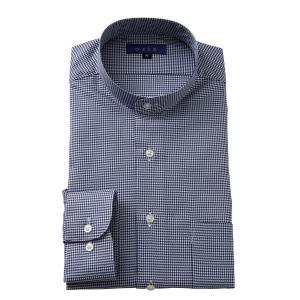 スタンドカラーシャツ メンズ 長袖 ネイビー 紺 綿100% ワイシャツ ドレスシャツ レギュラーフィット Yシャツ 無地 大きいサイズ おしゃれ 日本製|ozie