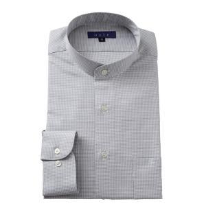 スタンドカラーシャツ メンズ 長袖 綿100% ワイシャツ ドレスシャツ レギュラーフィット Yシャツ 無地 大きいサイズ おしゃれ 日本製 グレー|ozie