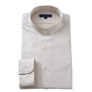 スタンドカラーシャツ メンズ 長袖 綿100% ワイシャツ ドレスシャツ レギュラーフィット Yシャツ 無地 大きいサイズ おしゃれ 日本製 ベージュ|ozie