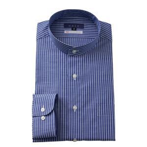 スタンドカラーシャツ メンズ 長袖 ブルー 綿麻混 100番手 プレミアムコットン ワイシャツ ドレスシャツ レギュラーフィット 日本製 Yシャツ 大きいサイズ|ozie