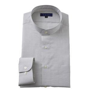 スタンドカラーシャツ メンズ 長袖 ベージュ 綿麻混 100番手 プレミアムコットン ワイシャツ ドレスシャツ レギュラーフィット 日本製 Yシャツ 大きいサイズ|ozie