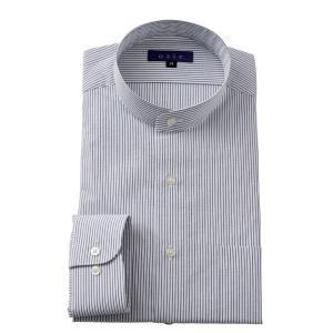 スタンドカラーシャツ メンズ 長袖 グレー 綿100% ワイシャツ ドレスシャツ レギュラーフィット Yシャツ 無地 大きいサイズ おしゃれ 日本製|ozie