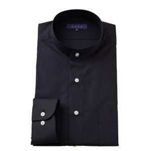 スタンドカラーシャツ メンズ 長袖 ブラック 黒 綿100% ワイシャツ ドレスシャツ レギュラーフィット Yシャツ 無地 大きいサイズ おしゃれ 日本製|ozie