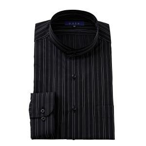 ワイシャツ メンズ 長袖 スタンドカラー ブラック 黒 ビジネスシャツ ドレスシャツ 大きいサイズ おしゃれ|ozie