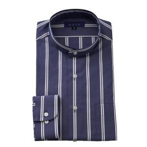 ワイシャツ メンズ 長袖 スタンドカラー ネイビー 紺 ブルー 青 ビジネスシャツ ドレスシャツ 大きいサイズ おしゃれ|ozie