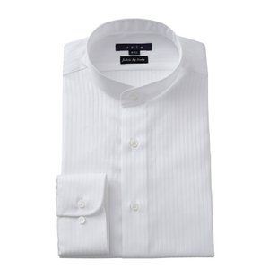 ワイシャツ メンズ 長袖 スタンドカラー ホワイト 白 イタリア製生地 ビジネスシャツ ドレスシャツ 大きいサイズ おしゃれ ozie