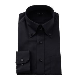 ワイシャツ メンズ 長袖 スリム ブラック 黒 ドゥエボットーニ ボタンダウン 綿100% プレミアムコットン Yシャツ ビジネスシャツ ドレスシャツ 大きいサイズ|ozie